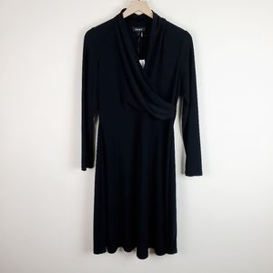 DKNY Black Wrap Front Ruched Long Sleeve Dress